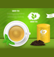 realistic detailed 3d green tea card vector image vector image