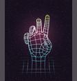 retro 80s futuristic deep space design human hand vector image