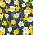 retro seamless texture with blossom of daffodils vector image vector image