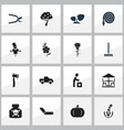 set of 16 editable planting icons includes vector image vector image