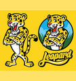 set of cartoon of leopard character vector image vector image