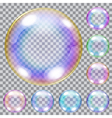 Set of multicolored soap bubbles vector image vector image