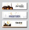 set ramadan kareem muslim religion holy month flat vector image