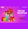 shopping online design concept with gifts vector image