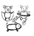 sketches of funny pigs who are engaged vector image
