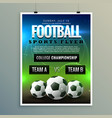 soccer football poster flyer template vector image vector image