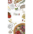 vertical italian pizza banner on white pizza menu vector image vector image