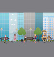 walking with pets in street flat vector image