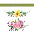 Watercolor flowers with foliage vector image