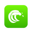 wave of sea tide icon digital green vector image vector image