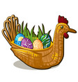 wicker basket form of chicken bird with set of vector image