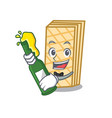 with beer waffle mascot cartoon style vector image