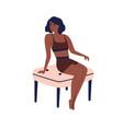 young dark skin african american woman in sport vector image vector image