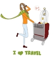 Young women with suitcases and bird cage For t vector image