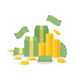 money bundle and coin stack isolated on white vector image