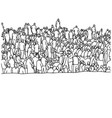 muslim people in crowd sketch hand vector image