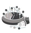 pincushion pins thread a needle and thimbles vector image