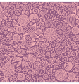 Floral doodle wallpaper seamless pattern vector image