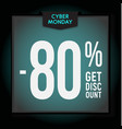 80 percent off holiday discount cyber monday vector image vector image
