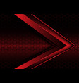 abstract red metallic arrow on hexagon mesh vector image vector image