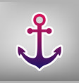 anchor icon purple gradient icon on white vector image vector image