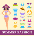 beach fashion girl and miscellaneous clothes vector image vector image