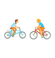 bike riders riding bike and listening to music vector image vector image
