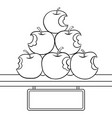 bitten apples sale coloring book vector image vector image