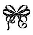 bow black silhouette ribbon knot vector image vector image