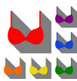 bra simple sign set of red orange yellow green vector image