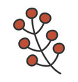 branch berries foliage autumn on white background vector image vector image