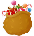 brown sack santa claus with gifts vector image