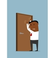 Businessman knocking at the closed door vector image