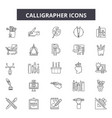 calligrapher line icons signs set vector image