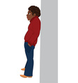 Cartoon black man in red sweater standing near the vector image vector image