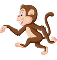 cartoon funny monkey walking on white background vector image vector image
