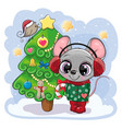 cartoon mouse is near christmas tree vector image vector image