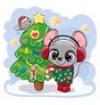 cartoon mouse is near christmas tree vector image