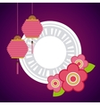 chinese lanterns and flowers decorations vector image vector image