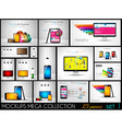 Collection of phone pc and tablet mockups with vector image vector image