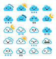 Cute cloud - Kawaii Manga icons with different vector image vector image