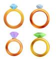 diamond ring icons set cartoon style vector image vector image
