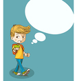 Education back to school boy with social bubble vector image vector image