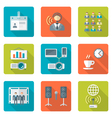 flat style conference presentation icons set vector image