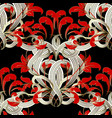 floral modern black red white seamless pattern vector image vector image