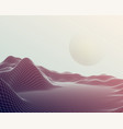 futuristic abstract mesh mountains cyberspace vector image
