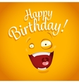 Happy Birthday card with funny cartoon emotion vector image