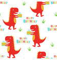 happy birthday pattern with dinosaur vector image