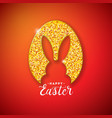 happy easter holiday design with rabbit silhouette vector image vector image