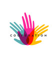 human hands together for social help concept vector image